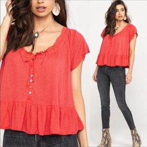 Free People Red Ruffle Trim Short Sleeve Tee Sz S
